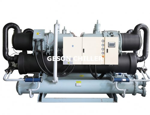 Double compressors water cooled screw chillers