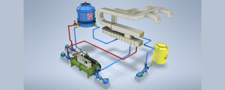 Water Cooled Chiller System and A Cooling Tower